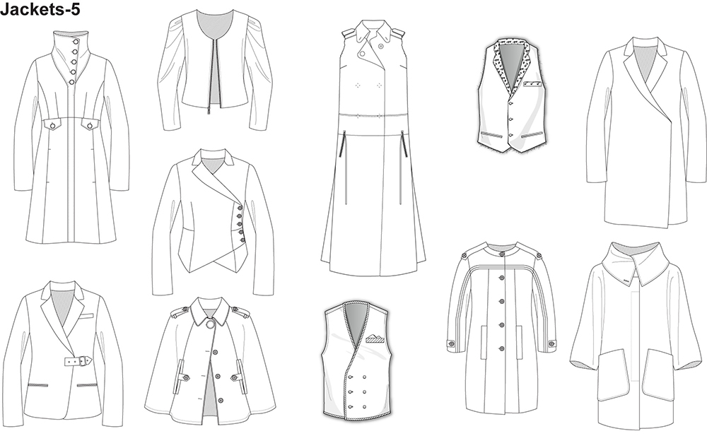 Fashion flat sketches for jackets for Clothing templates for illustrator