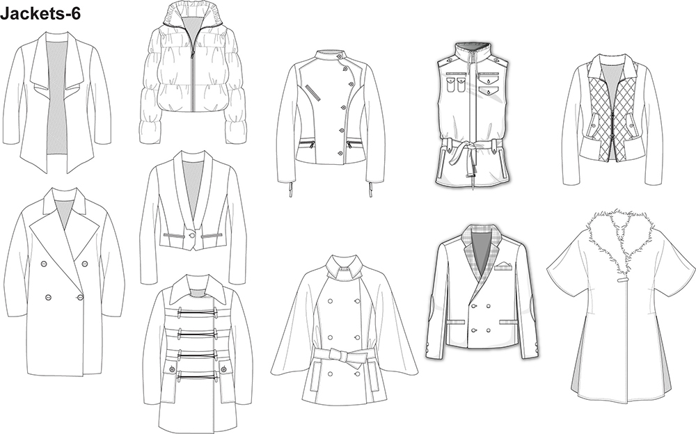 Fashion Flat Sketches For Jackets