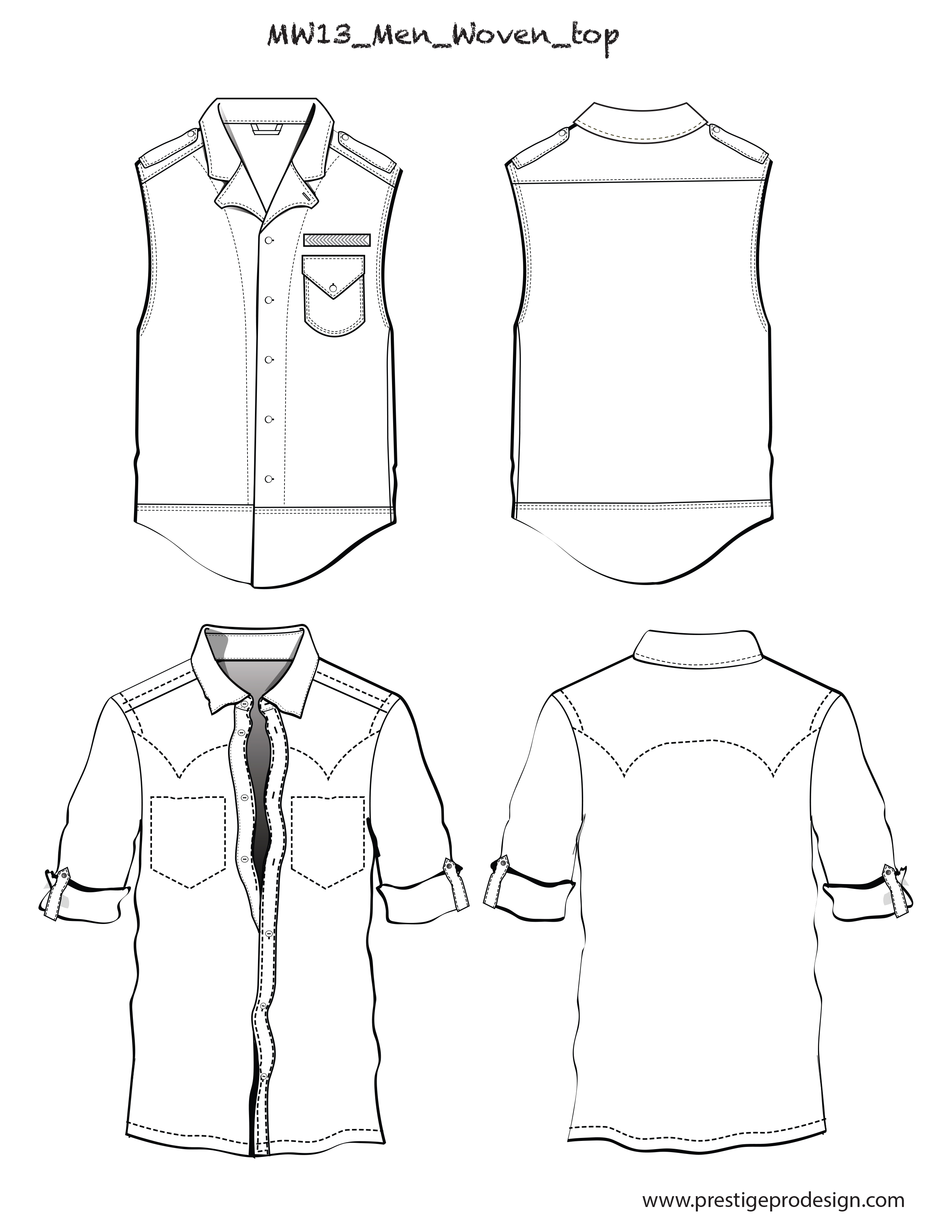 Men flat sketches for Woven Tops - PrestigeProDesign.com Page on