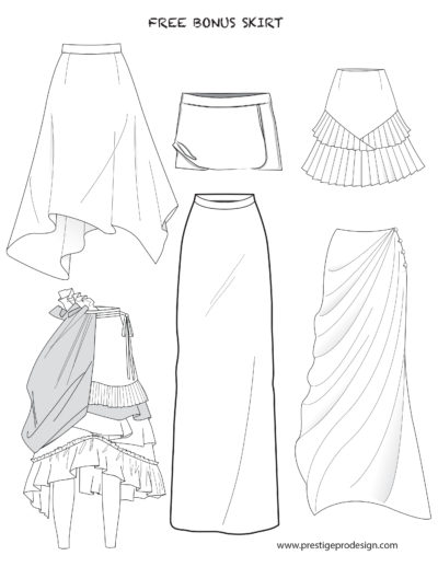 Flat Sketches Of Skirts And Dresses For Women Prestigeprodesign